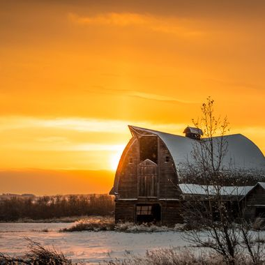 Canadian Farm at Sunset