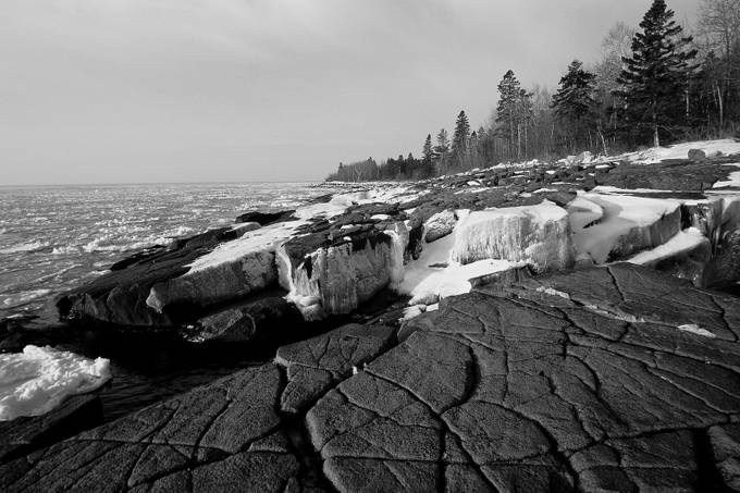 Shore Ice - Lake Superior  by Fujiguy - Winter In Black And White Photo Contest