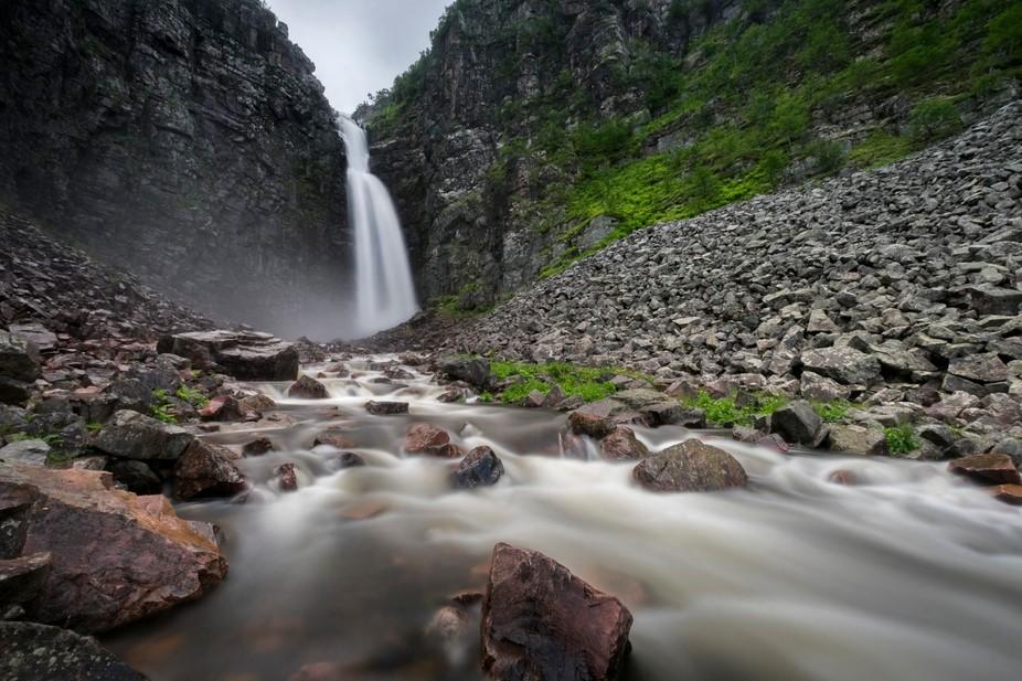 Njupeskär is a waterfall in the river Njupån in Fulufjället National Park, Sweden. With a tota...