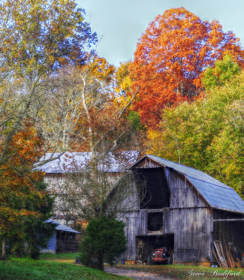 A crisp Tennessee Autumn morning where colors abound and the old tractor sits waiting for another harvest.