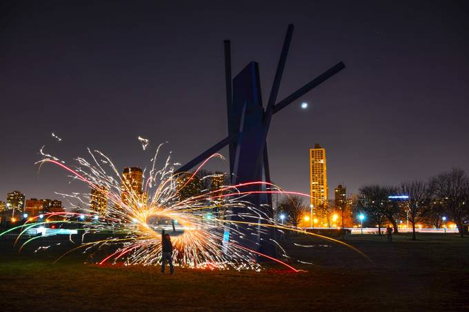 Chicago Steel Wool & Light show in March by arturogonzalez - Layered Compositions Photo Contest