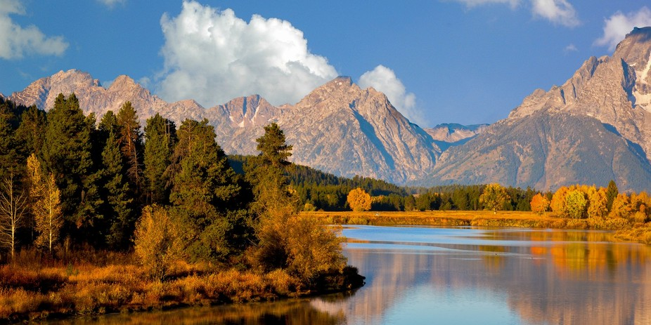 This photo was taken at Oxbox Bend in the Grand Tetons National Park Oct 2014