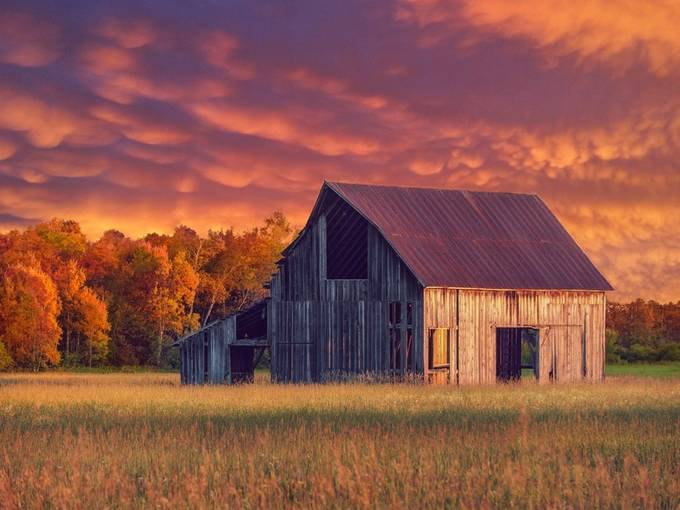 Old Autumn Barn by Troy-Hess - Farms And Barns Photo Contest