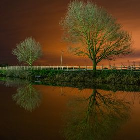 Taken whilst walking along the river Hull in Beverley East Yorkshire, The light pollution gives a orange hue contrasting the green of the trees w...