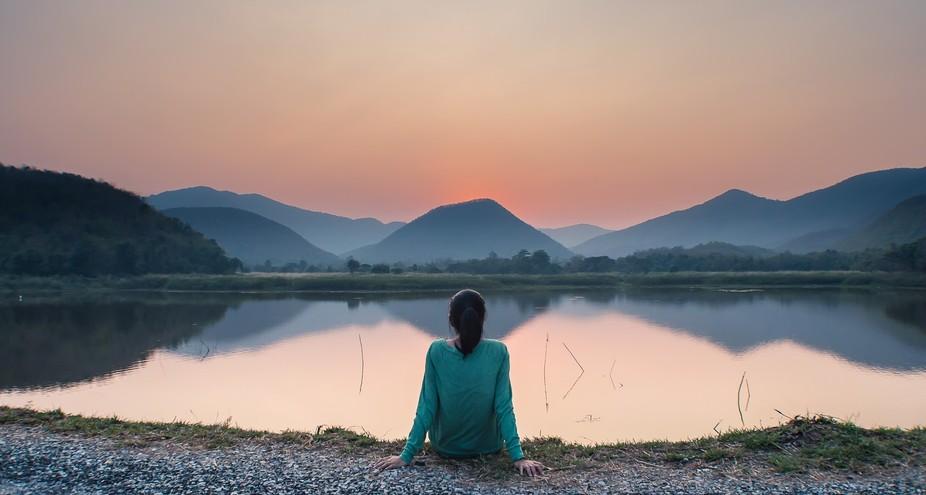 sunset at my hometown ancient reservoir, Sukhothai, Thailand