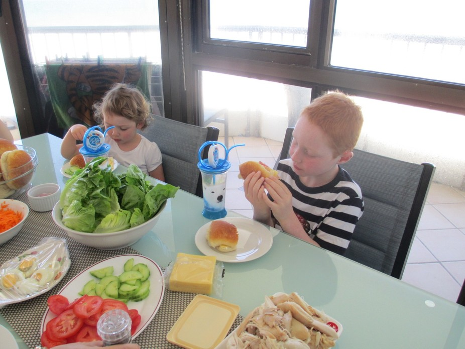 Having lunch at the apartment at Broadbeach.