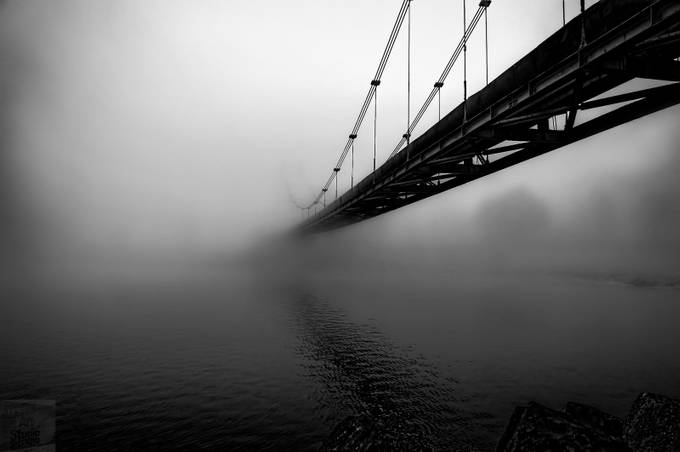 Transylvania evening fog comes over the river by ferencboloni - A Black And White World Photo Contest