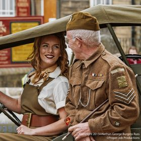 West Riding 28th Battalion Home Guard Sergeant talking with a Land Girl