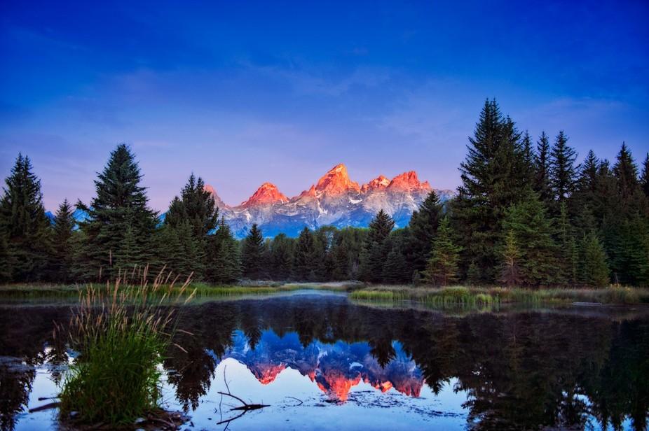 6:00 Sunrise hitting the peaks of the Teton Range