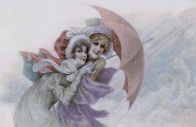 Pretty Ladies  In The Snow.