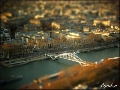 Palais de Tokyo and Passerelle Debilly, Paris, France (Tilt shift)