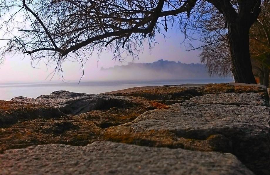 Foggy city of Kavala Greece
