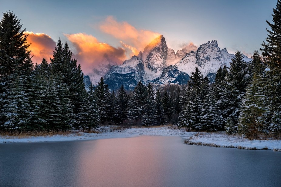 Nestled in the Grand Tetons, the winter hike in is about 2 miles of knee high snow.   Come prepar...