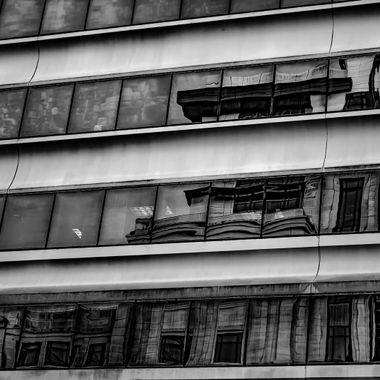 Reflections on Main Street ii B&W