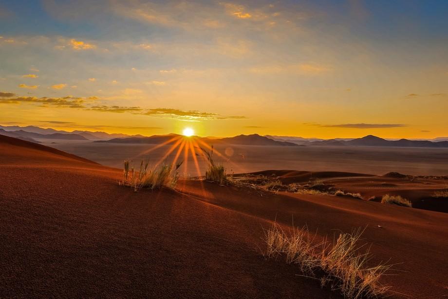 Morning sun on sand dunes