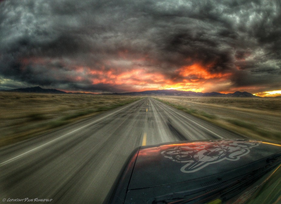 Sunset in the West Desert of Utah, GoPro image at 70MPH HDR
