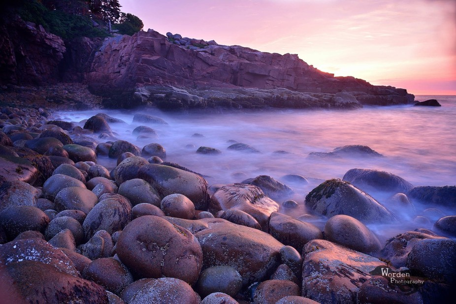 I got up extra early and used a polarizer and ND filter to capture this shot in Acadia National P...