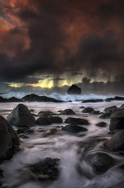 Sea storm, Sandvik, Iceland.