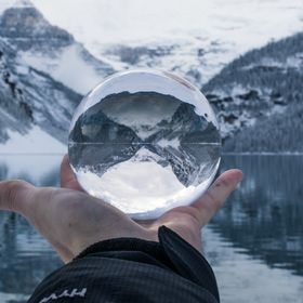 lake reflection in a crystal ball