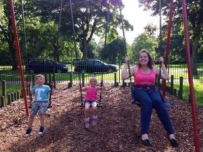 mam loves the swings