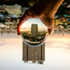 Cityscape's sunset shot through crystal ball