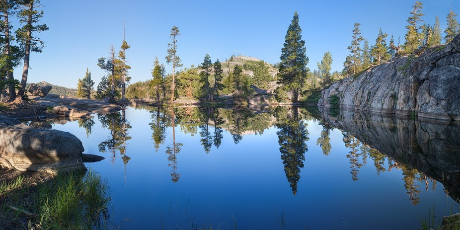 A small pond at Donner Pass in the Eastern Sierra Nevada Mountains of California. --- Wide Angle ...