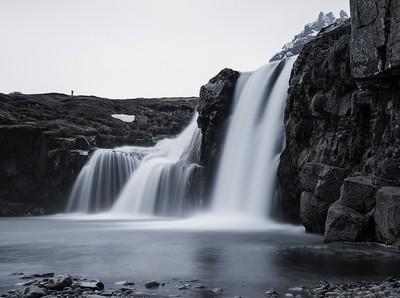 Iceland Waterfall - B&W
