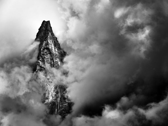 Out of the clouds by Denis09 - Black And White Mountain Peaks Photo Contest