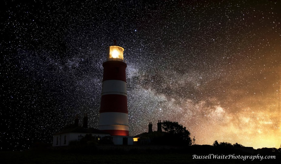 Lighthouse infront of milky way watermark