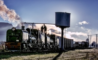 Filling up the loco with water.