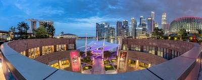 Panoramic View of Singapore CBD Skyline on top of Esplanade