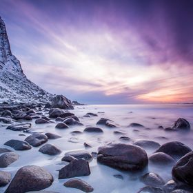 Long exposure photo during the sunset at Uttakleiv Beach on Lofoten Island, Norway