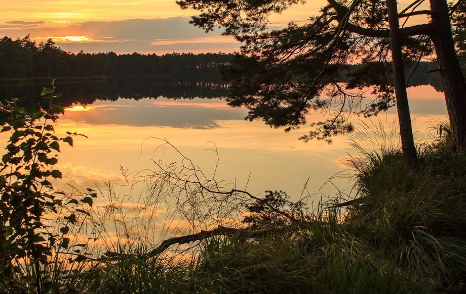 late calm evening near little lake