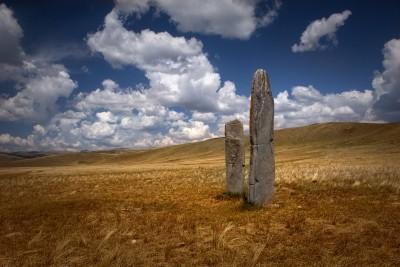Scythian graves. Altai mountains.