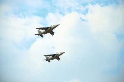 Two jet fighters on sky