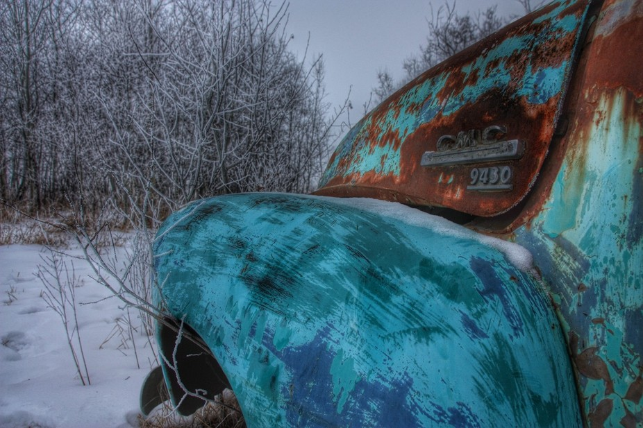 Frost and a old rusty  truck