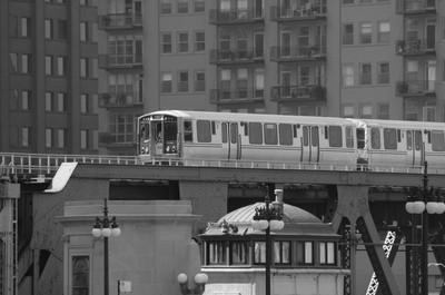 Chicago Elevated Train Black and White