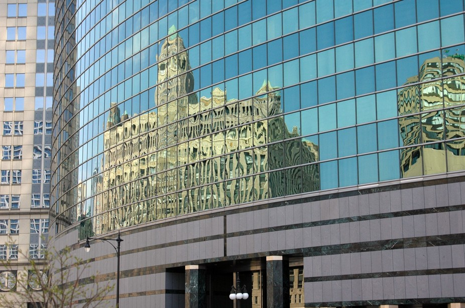 In this photo from my 2005 trip to Chicago, I captured the reflection of historic architecture re...