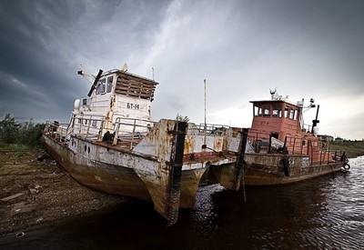 Boats in Tavda river