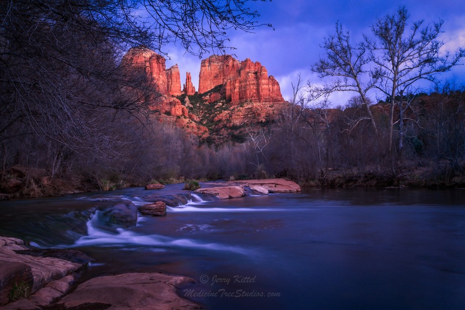Late day view of Cathedral Rock from the bank of Oak Creek at Red Rock Crossing.