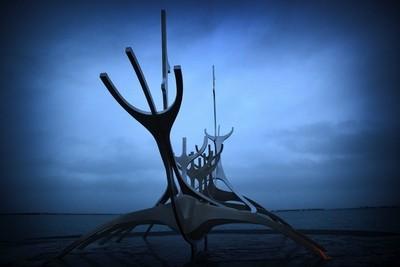 Viking ship sculpture, Reykjavik Iceland