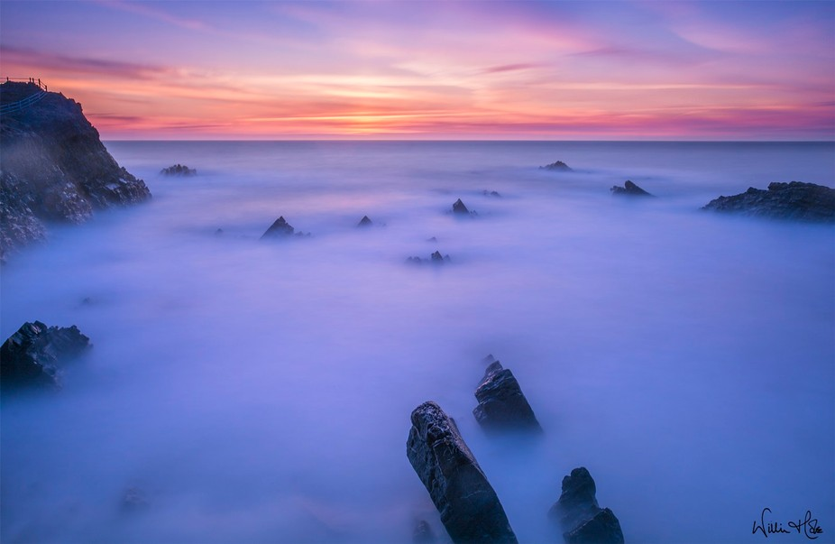 A long exposure shot out to sea at Hartland Quay in Devon.