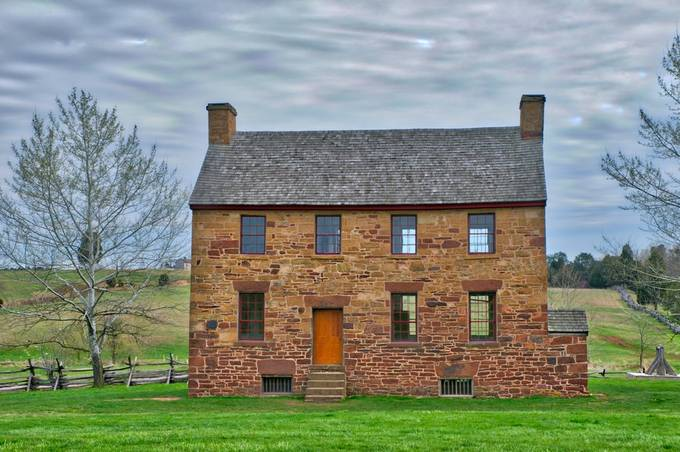 Taken in Manassas Battlefield Park near Manassas, Virginia.  The old home looks like it could be at 'home' in Ireland or Scotland as much as it looks perfect in Virginia.