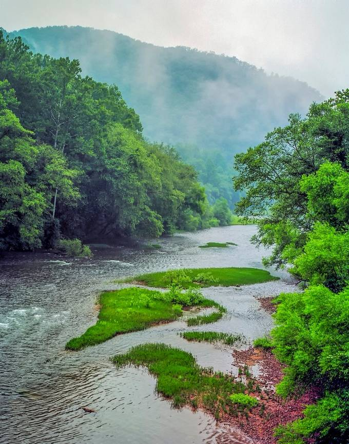 Taken from an old abandoned swinging bridge in Elkhurst, WV.  The Elk River winds its way through Clay County to empty into the Kanawha River in Charleston, WV.  Once filled with debris and trash, the Elk is now a beautiful, clean river; filled with fish and folks seeking recreation.