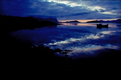 Fjord, Sunset & Fishing Boat