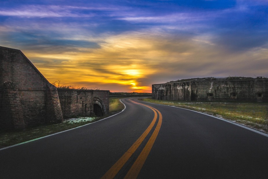 The sun setting at old Fort Pickens
