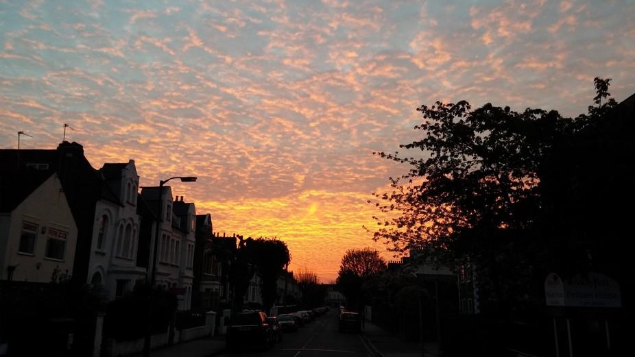 Orange sky in the morning.