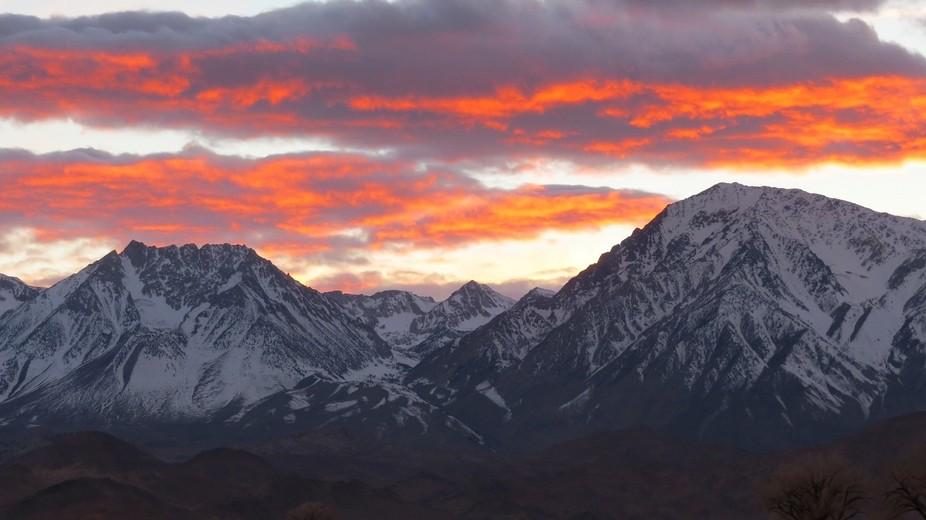 Winter sunset over the Sierras.