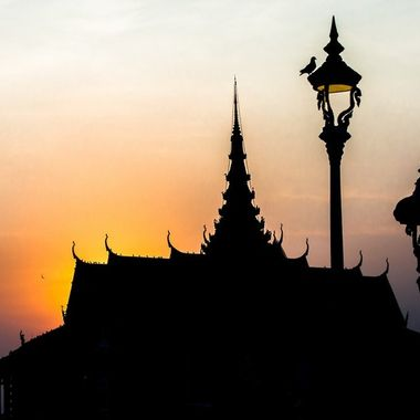 Cambodian Phnom Penh Royal palace sunset