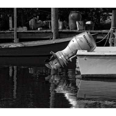 Boat at Dock BW Border